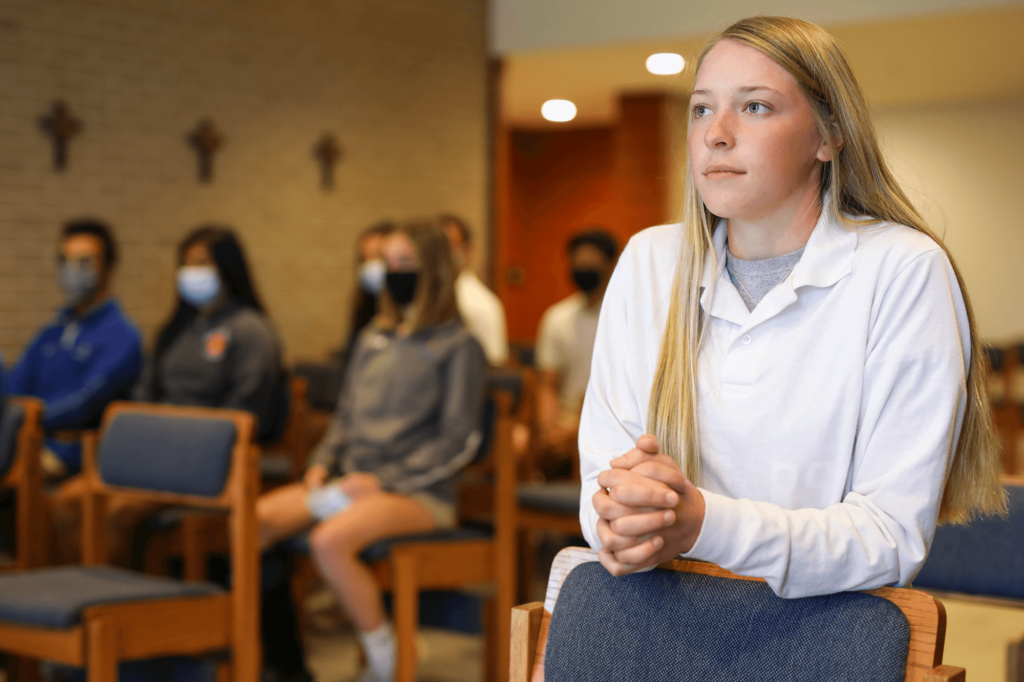 Students praying