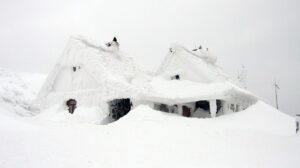 Snow buried house