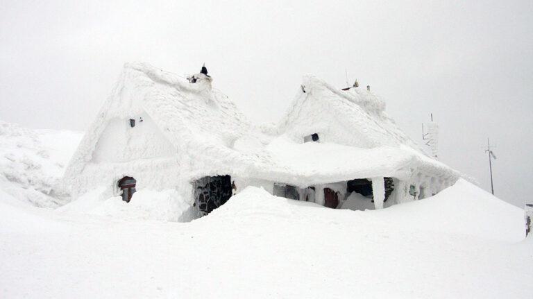 Snow buried house