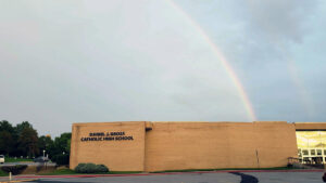 Rainbow over Gross Catholic's Campus