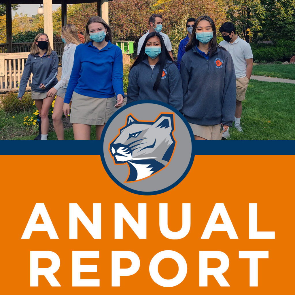 Annual Report photo students walking