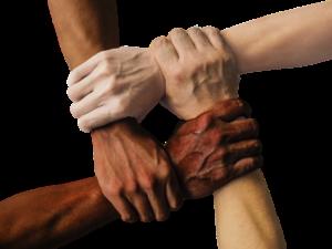4 hands holding wrists symbolizing diversity