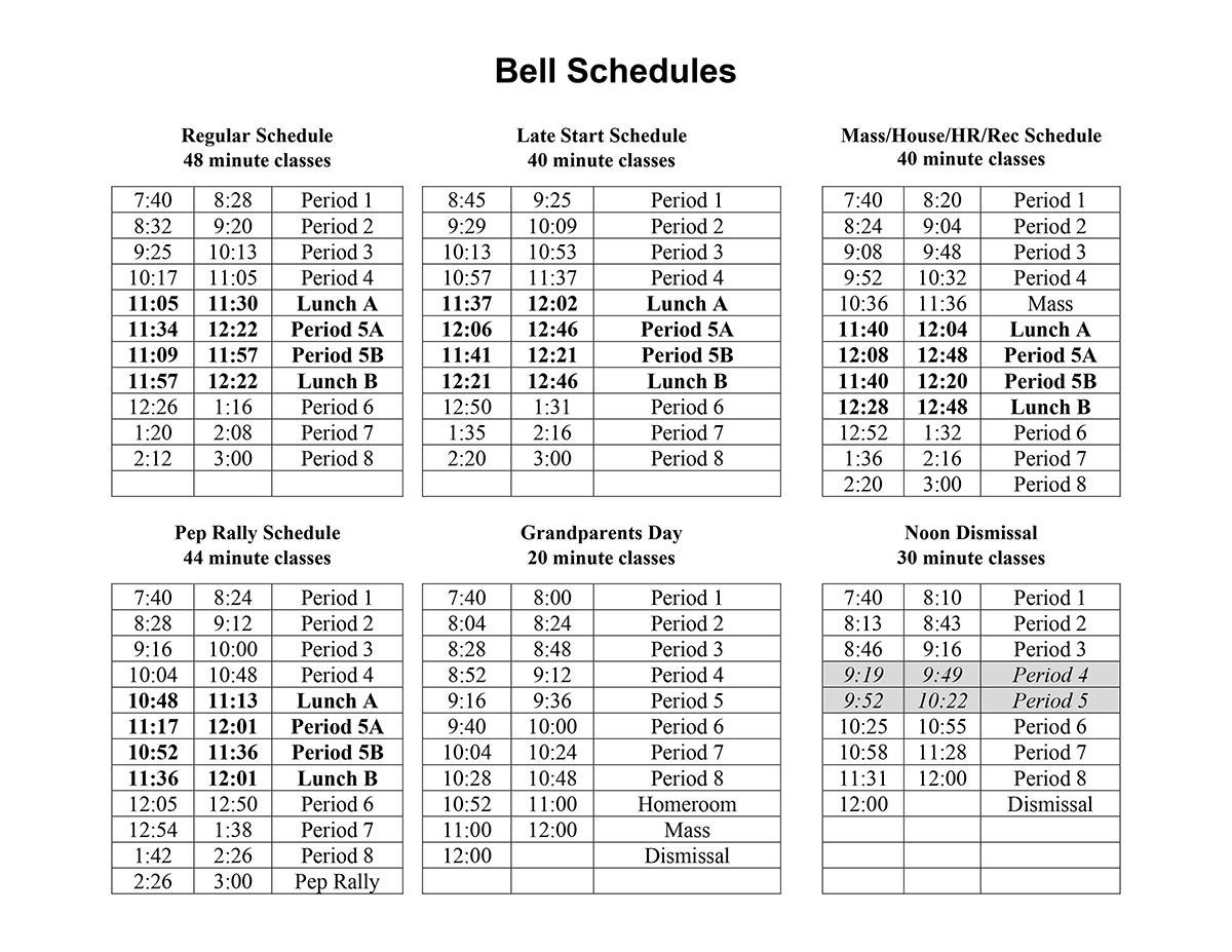 List of bell schedules